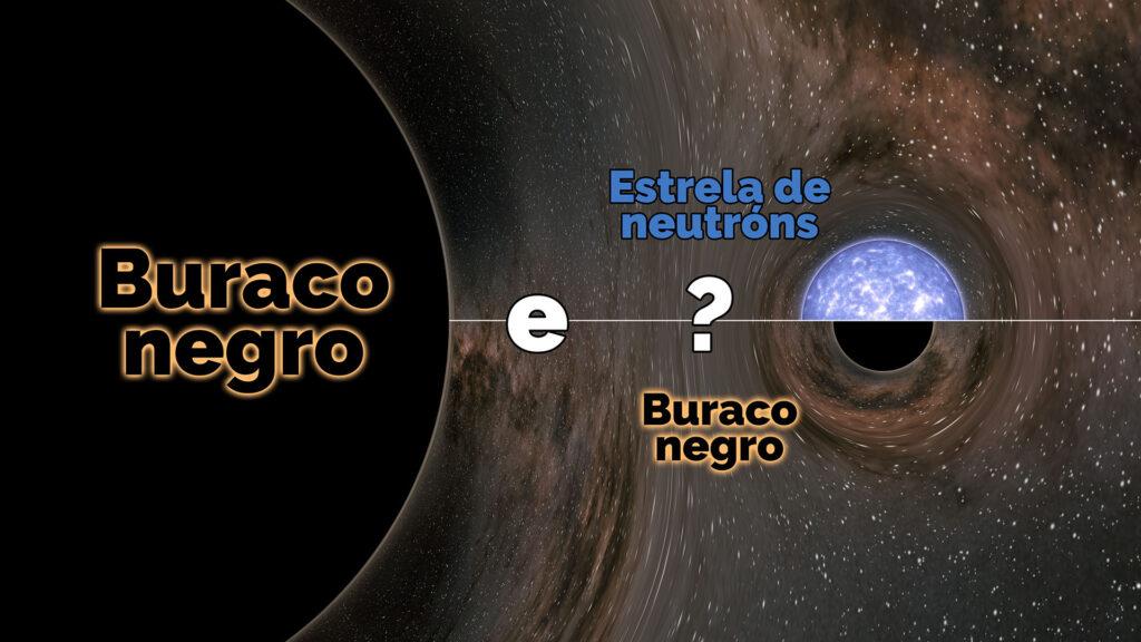 Ilustración que amosa a misteriosa fusión detectada a través dunha onda gravitacional en 2019. Fonte: IGFAE.